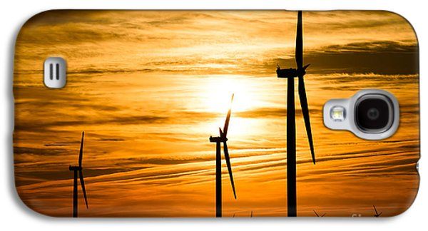Wind Turbine Farm Picture Indiana Sunrise Galaxy S4 Case by Paul Velgos