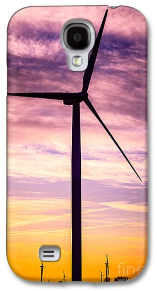 Power Plants Galaxy S4 Cases - Wind Turbine Picture on Wind Farm in Indiana Galaxy S4 Case by Paul Velgos