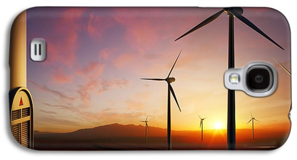 Industrial Digital Galaxy S4 Cases - Wind Turbines at sunset Galaxy S4 Case by Johan Swanepoel