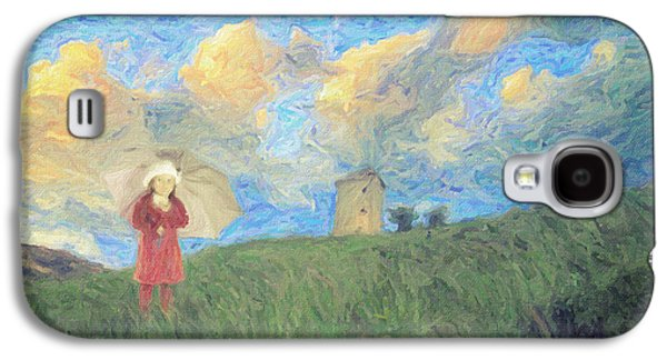 Ross Paintings Galaxy S4 Cases - Windmill girl Galaxy S4 Case by Taylan Soyturk