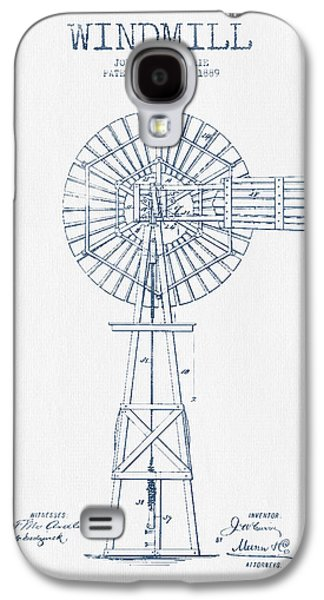 Windmill Galaxy S4 Cases - Windmill Patent Drawing From 1889 - Blue Ink Galaxy S4 Case by Aged Pixel