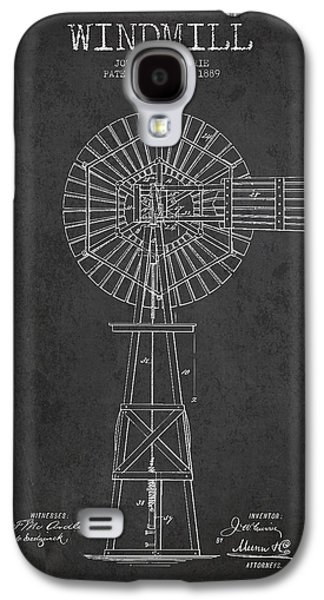 Windmill Galaxy S4 Cases - Windmill Patent Drawing From 1889 - Dark Galaxy S4 Case by Aged Pixel