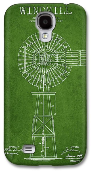 Windmill Galaxy S4 Cases - Windmill Patent Drawing From 1889 - Green Galaxy S4 Case by Aged Pixel
