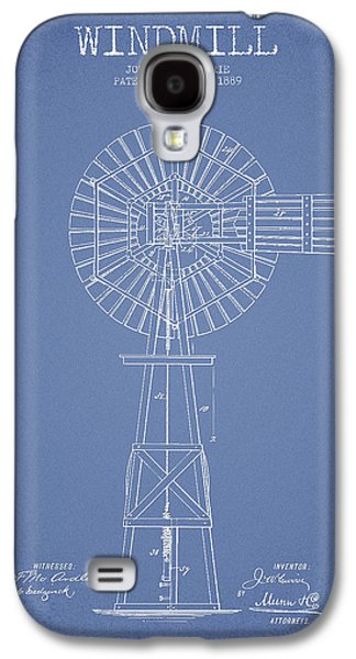 Windmill Galaxy S4 Cases - Windmill Patent Drawing From 1889 - Light Blue Galaxy S4 Case by Aged Pixel