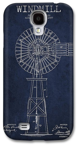 Windmill Galaxy S4 Cases - Windmill Patent Drawing From 1889 - Navy Blue Galaxy S4 Case by Aged Pixel
