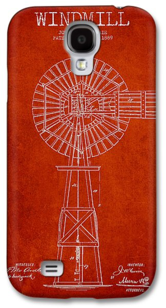 Windmill Galaxy S4 Cases - Windmill Patent Drawing From 1889 - Red Galaxy S4 Case by Aged Pixel