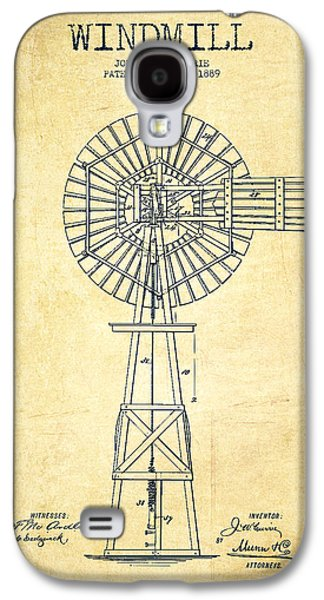 Windmill Galaxy S4 Cases - Windmill Patent Drawing From 1889 - Vintage Galaxy S4 Case by Aged Pixel