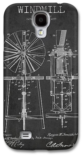 Windmill Galaxy S4 Cases - Windmill Patent Drawing From 1899 - Dark Galaxy S4 Case by Aged Pixel