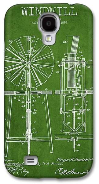 Windmill Galaxy S4 Cases - Windmill Patent Drawing From 1899 - Green Galaxy S4 Case by Aged Pixel