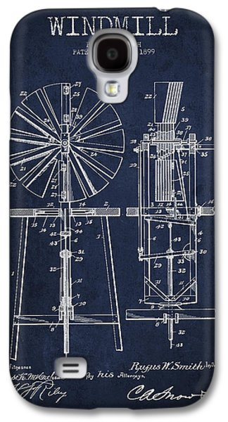 Windmill Galaxy S4 Cases - Windmill Patent Drawing From 1899 - Navy Blue Galaxy S4 Case by Aged Pixel