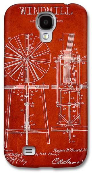 Windmill Galaxy S4 Cases - Windmill Patent Drawing From 1899 - Red Galaxy S4 Case by Aged Pixel