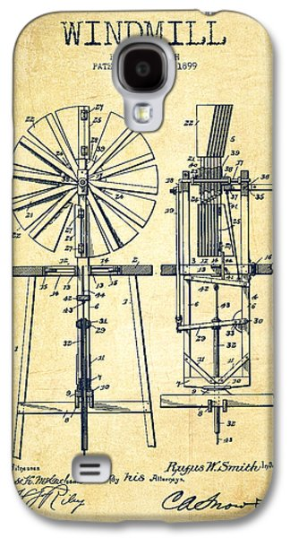 Windmill Galaxy S4 Cases - Windmill Patent Drawing From 1899 - Vintage Galaxy S4 Case by Aged Pixel