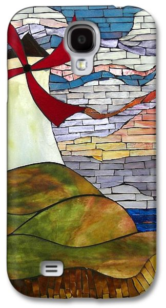Print Glass Art Galaxy S4 Cases - Windmill Galaxy S4 Case by Suzanne Tremblay