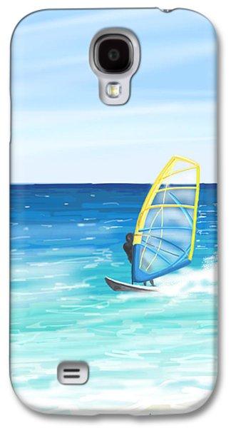 Waves Digital Art Galaxy S4 Cases - Windsurf Galaxy S4 Case by Veronica Minozzi