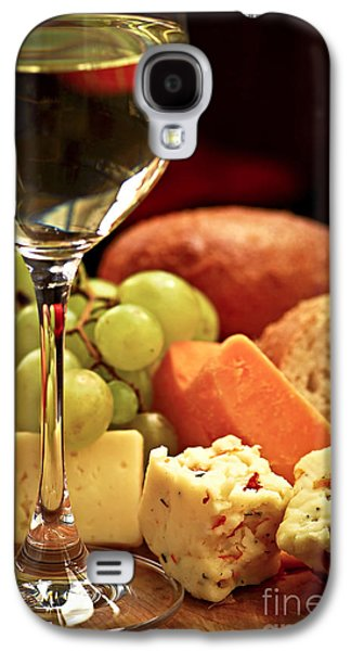 Glass Photographs Galaxy S4 Cases - Wine and cheese Galaxy S4 Case by Elena Elisseeva