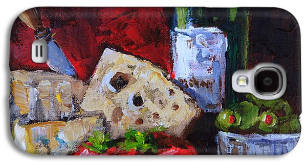 Italian Wine Paintings Galaxy S4 Cases - Wine and Cheeses Galaxy S4 Case by Carole Foret