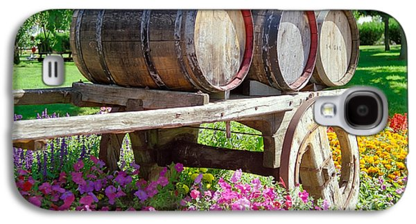 Wine Cart Galaxy S4 Cases - Wine Barrels in Spring at V Sattui Winery Galaxy S4 Case by Michelle Wiarda
