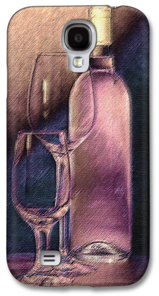 Vino Photographs Galaxy S4 Cases - Wine Bottle with Glasses Galaxy S4 Case by Tom Mc Nemar