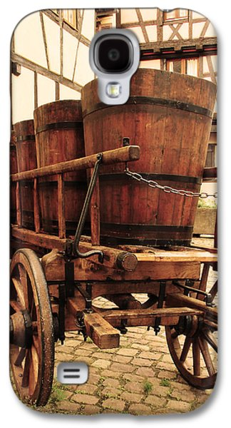 Wine Cart Galaxy S4 Cases - Wine Cart in Alsace France Galaxy S4 Case by Greg Matchick