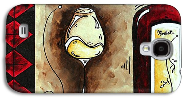 Red Wine Prints Galaxy S4 Cases - WINE TASTING Original MADART Painting Galaxy S4 Case by Megan Duncanson