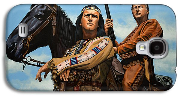 Novel Paintings Galaxy S4 Cases - Winnetou and Old Shatterhand Galaxy S4 Case by Paul Meijering