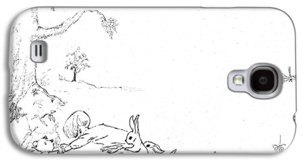 Piglets Paintings Galaxy S4 Cases - Winnie the Pooh and Crew in Pen  and Ink after E H Shepard Galaxy S4 Case by Maria Hunt