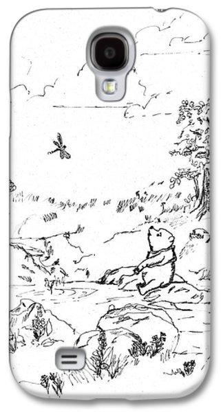 Education Paintings Galaxy S4 Cases - Winnie the Pooh by the Creek   After E H Shepard Galaxy S4 Case by Maria Hunt