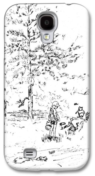 Piglets Paintings Galaxy S4 Cases - Winnie The Pooh goes on a Picnic   after E H Shepard Galaxy S4 Case by Maria Hunt