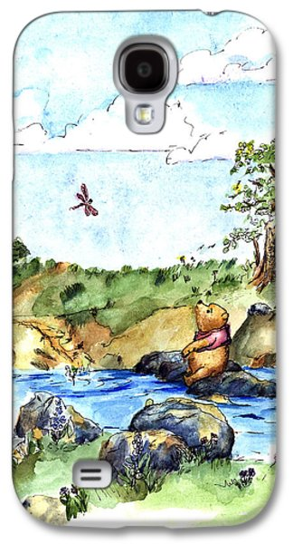 Education Paintings Galaxy S4 Cases - Winnie-the-Pooh With Bees and Butterflies after E  H Shepard Galaxy S4 Case by Maria Hunt