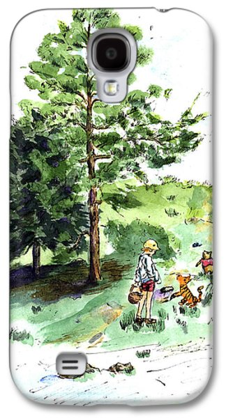 Education Paintings Galaxy S4 Cases - Winnie the Pooh with Christopher Robin after E H Shepard Galaxy S4 Case by Maria Hunt