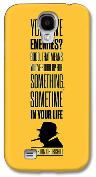 Politician Galaxy S4 Cases - Winston Churchill Inspirational Quotes Poster Galaxy S4 Case by Lab No 4 - The Quotography Department