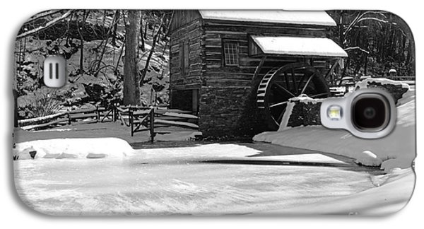 Winter Road Scenes Galaxy S4 Cases - Winter at the Mill in Black and White Galaxy S4 Case by Paul Ward