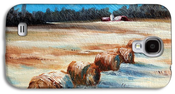 Haybales Paintings Galaxy S4 Cases - Winter Bales Galaxy S4 Case by Meaghan Troup