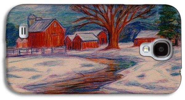 Winter Scene Pastels Galaxy S4 Cases - Winter Barn Scene Galaxy S4 Case by Kendall Kessler