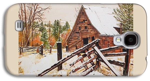 Winter - Barn - Snow In Nevada Galaxy S4 Case by Jan Dappen