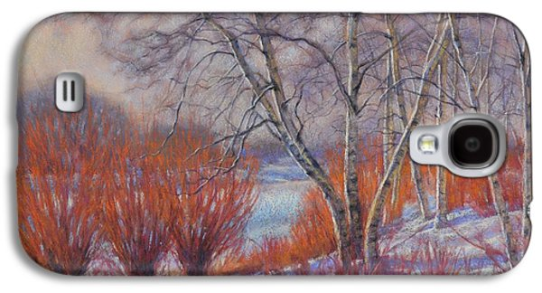 Winter Scene Pastels Galaxy S4 Cases - Winter Birches and Red Willows 1 Galaxy S4 Case by Fiona Craig