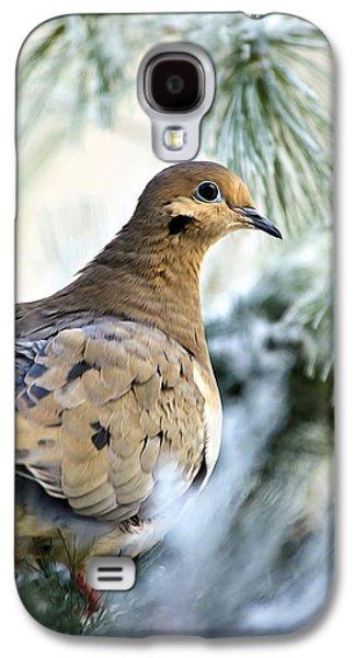 Rollosphotos Digital Art Galaxy S4 Cases - Winter Bird Mourning Dove Galaxy S4 Case by Christina Rollo
