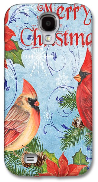 Tree Print Mixed Media Galaxy S4 Cases - Winter Blue Cardinals-Merry Christmas Card Galaxy S4 Case by Jean Plout