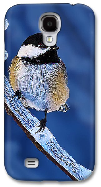 Photo Manipulation Photographs Galaxy S4 Cases - Winter Chickadee Hangs On Galaxy S4 Case by Bill Caldwell -        ABeautifulSky Photography
