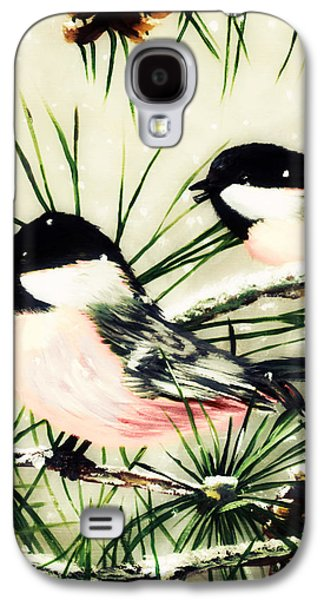 Group Of Birds Paintings Galaxy S4 Cases - Winter Chickadees 2 Galaxy S4 Case by Chastity Hoff