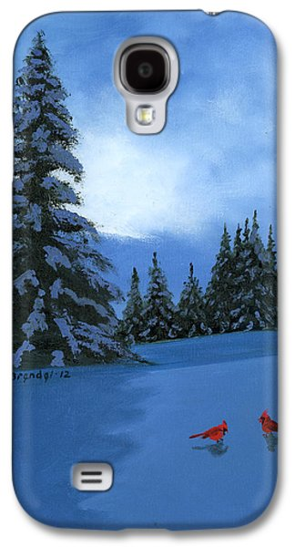 Smokey Mountains Paintings Galaxy S4 Cases - Winter Christmas Card 2012 Galaxy S4 Case by Cecilia  Brendel