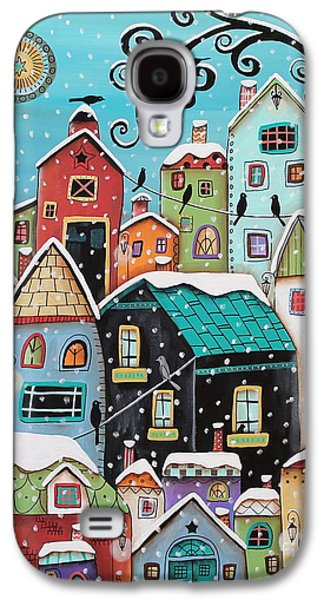 Winter Paintings Galaxy S4 Cases - Winter City Galaxy S4 Case by Karla Gerard