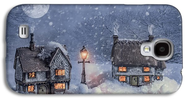 Snowy Evening Galaxy S4 Cases - Winter Cottages In Snow Galaxy S4 Case by Amanda And Christopher Elwell