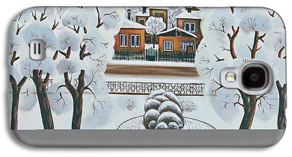 Folk Art Photographs Galaxy S4 Cases - Winter Day, 1978 Oil On Canvas Galaxy S4 Case by Radi Nedelchev