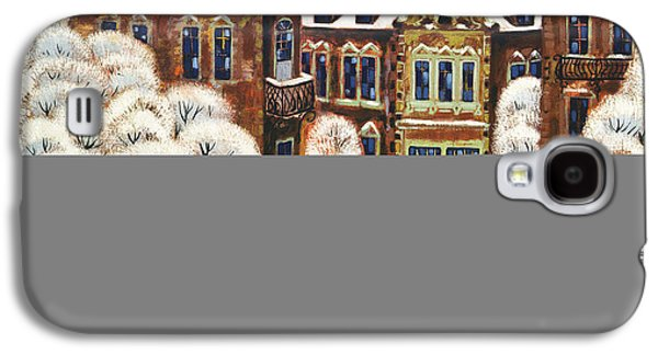 Folk Art Photographs Galaxy S4 Cases - Winter Day In The City, 1975 Oil On Canvas Galaxy S4 Case by Radi Nedelchev
