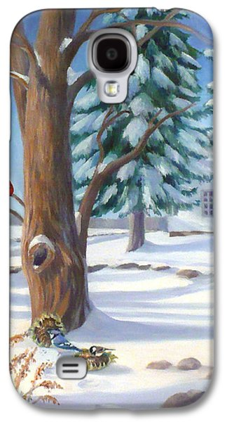 New England Snow Scene Paintings Galaxy S4 Cases - Winter Day Galaxy S4 Case by Janet  Zeh
