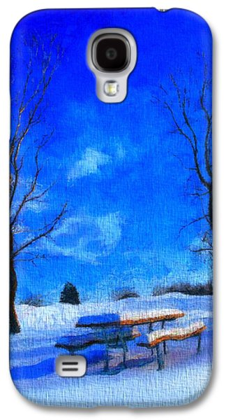Snowy Day Paintings Galaxy S4 Cases - Winter Day On Canvas Galaxy S4 Case by Dan Sproul