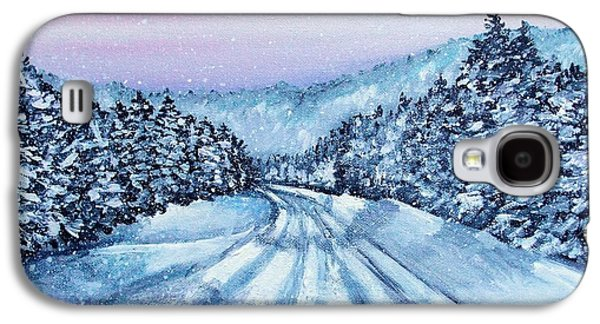 Maine Roads Paintings Galaxy S4 Cases - Winter Drive Galaxy S4 Case by Shana Rowe