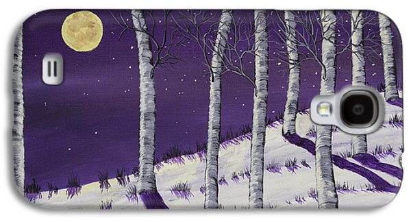 Snowy Day Paintings Galaxy S4 Cases - Winter Full Moon and Birch Trees  Painting Galaxy S4 Case by Keith Webber Jr
