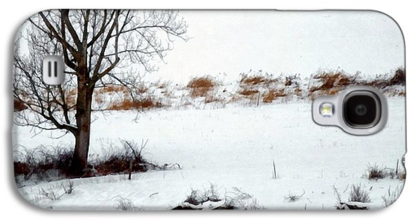 Grazing Snow Galaxy S4 Cases - Winter Horse Pasture 2 Galaxy S4 Case by Janine Riley